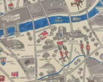 Passport - London Map Cloudy - 1/2yd