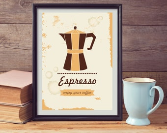 """Coffee Poster  Print ,Coffee Typographic Print, Typographic Poster, Dining Wall Decor, Kitchen Digital Art, Kitchen Wall Art, 8"""" x 10"""""""