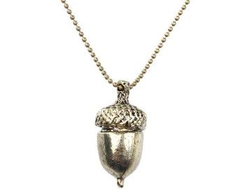 Long Acorn Pendant Necklace