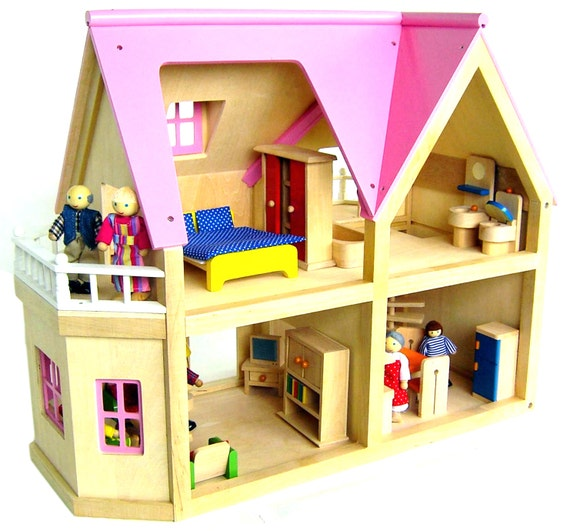 large wooden dolls house by jaimeslullaby on etsy. Black Bedroom Furniture Sets. Home Design Ideas