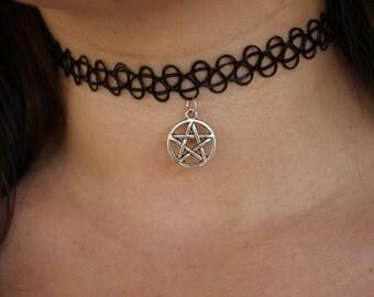 Black Tattoo Choker with Pentagram