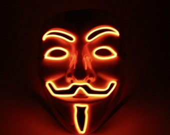 Light Up Vendetta Mask El Wire Orange - Halloween Special