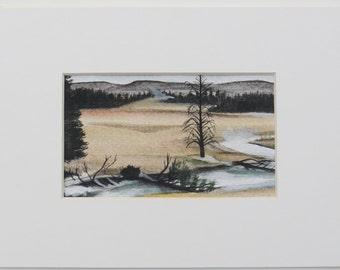 Yellowstone national park wyoming landscape original watercolour painting old faithful geyser basin USA roadtrip