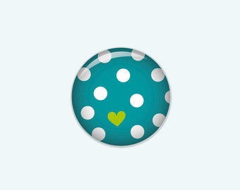 Dotted button in turquoise with white dots