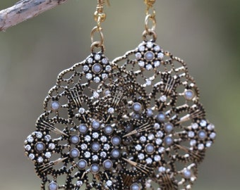 Large, Vintage-Inspired Bronze and Pearl Earrings
