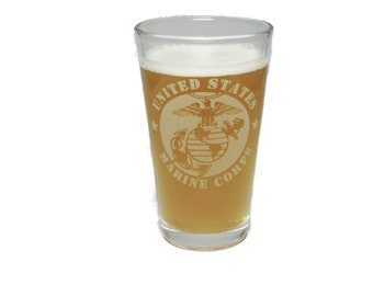 USMC - Marine Corps - Engraved Beer Glass - 16 oz - Permanently Etched - Fun & Unique Gift!