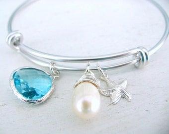 Aquamarine Bangle Pearl starfish Aquamarine Jewelry Starfish Jewelry Bridesmaid Gifts Beach Wedding March Birthstone Silver Bangle Aqua
