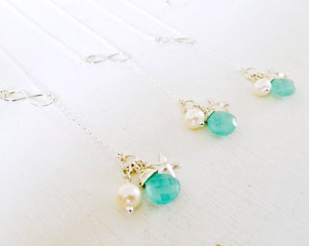 Silver Infinity Lariat,Aqua Lariat,Infinity Necklace With Aqua Gemstone,Pearl,Starfish,925 Sterling Silver,Bridesmaid Lariats,Beach Wedding