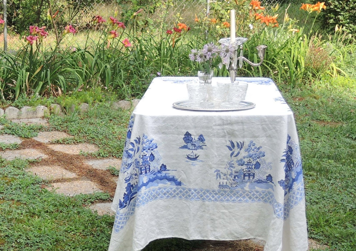 vintage blue willow rectangle tablecloth wedding tea party