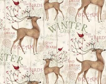 Christmas Winter Garden Fabric