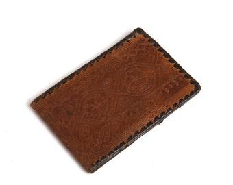Vintage leather brown purse, Handmade portfolio, Folding billfold, Luxury gift, Vintage leather folder, Small wallet