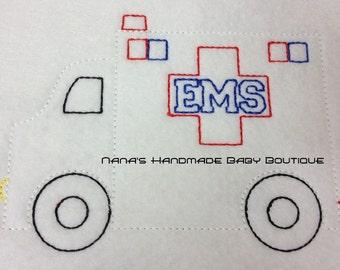 "Triple Bean Stitch ""Sketch"" Style AMBULANCE design  - Digital Embroidery Design"