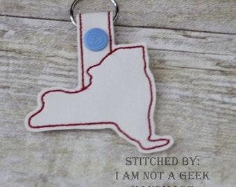 New York Outline -  NYC - Heart for the City - In The Hoop - Snap/Rivet Key Fob - DIGITAL Embroidery Design