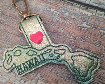Hawaii -  Heart for the City - In The Hoop - Snap/Rivet Key Fob - DIGITAL Embroidery Design