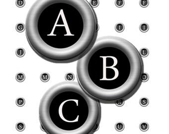 Antique Typewriter Keys Alphabet Vintage Letters Initials 13 mm Digital Images Collage Sheet Circles 8.5x11 4x6 INSTANT Download TC07