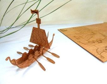 "Wooden Greeting Card - Break-Out ""Vikinger Boat"" 3D Postcards (3pcs)"