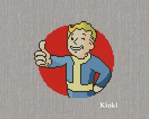 Cross stitch pattern Vault Boy from Fallout Instant Download PDF Chart