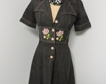 Alexanders Denim A-line dress with pink flowers