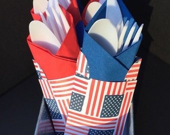 Patriotic, 4th of July, American Flag Utensil Holders/Pouches/Pockets-Sets of 8, 10, or 12