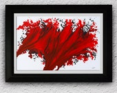 Red Art Print, Print from Original Artwork, Scarlet Red Print, Splash  Red, Fire Wave Print on Paper, Blood Red, Modern Home Decor, Nandita.