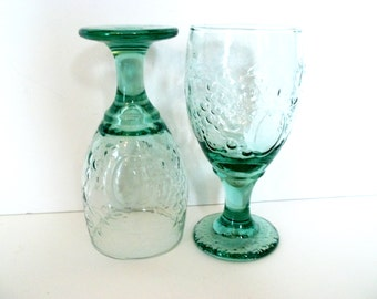 Libbey Rock Sharpe Orchard Water / Wine Footed Goblets In Spanish Green. Set Of 2 or more