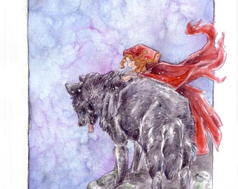 The Wolf and Red - A4 Print