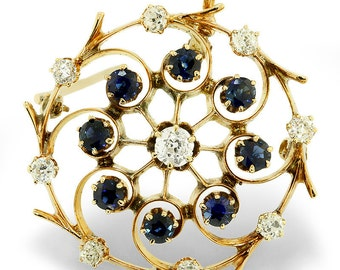Vintage Old Mine Cut Diamond & Blue Sapphire 14K Gold Pendant Brooch 1.55ctw