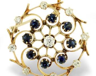 Vintage Old Mine Cut Diamond & Blue Sapphire 14K Gold Pendant Brooch 1.55ctw