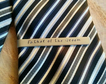 Customised tie clips Father of the Groom Bride plus wedding date double sided hand stamped and moulded