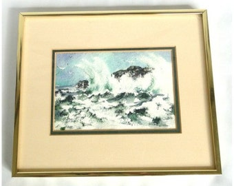 Rocks and Ocean with Waves and Seagulls Watercolor Painting Signed, Oates