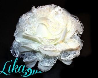 Ivory Shredded Lace Flowers - Chiffon Flower - Lace rose - Shredded Lace Flower - Wholesale - Supply - DIY- 3.75 inch