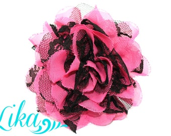 Hot Pink Black Lace Flowers - Chiffon Flower - Lace rose - Shredded Lace Flower Wholesale - Supply - DIY- 3.75 inch - Pink with Black Swirls