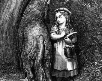 """Gustave Dore,  Little Red Riding Hood in 1869. Fairy Tales   11x14"""" canvas  textured poster, Big bad wolf, antique art print,  mid 1900s art"""