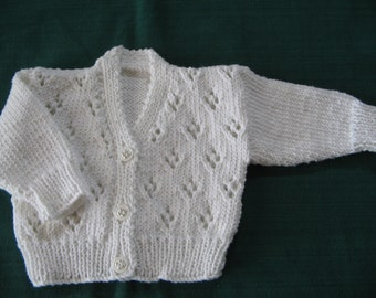 """Hand knitted 100% cotton babies cardigan in white Chest 19""""/48cm"""