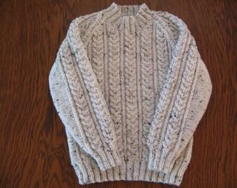 "Hand knitted aran jumper Chest 24""/61cm"