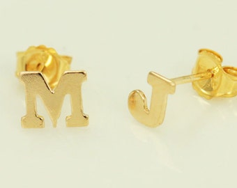 Alphabet Stud Earrings 14k Gold Filled, Letter Jewelry, A to Z, Initial Earrings, Personalized Jewelry, Post Earrings, Initial Studs, GFER37