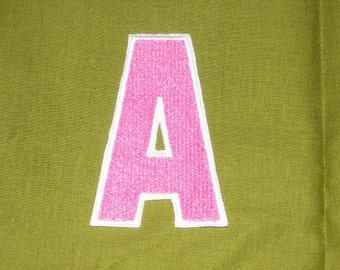 Applique College Font Letter A Pink White Iron on No Sew DIY Embroidered Patch Applique