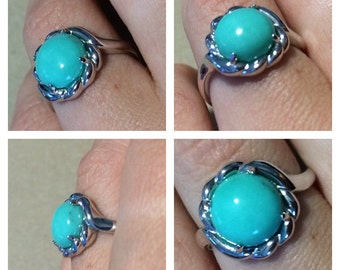 A WOW of a kind ! Sterling Silver Big 10mm Sleeping Beauty Turquoise Rope Ring.