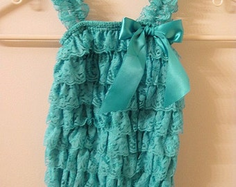 Baby Toddler Ruffle Petti Romper With Straps Teal SMALL