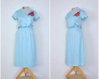 vintage robin's egg blue dress // 1970s simple blue poinsettia dress // medium