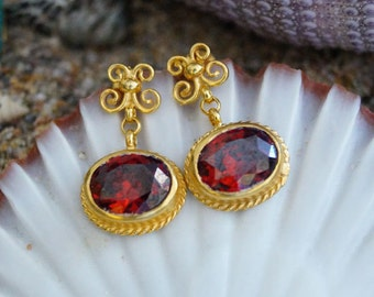 Red Garnet  Roman Art Handmade Butterfly earrings 18 k gold Vermeil Over 925 k Sterling Silver By Ferimer