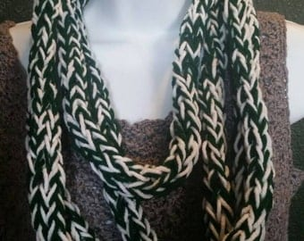 Finger knit infinity scarf (green/white), handcrafted knit scarf, infinity loop