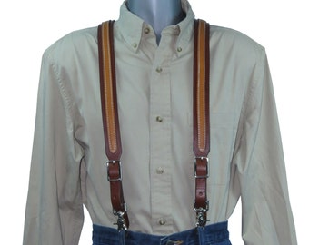 2 Tone Leather Suspenders for Men