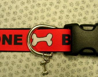 Bad to the Bone Adjustable dog collar with bone charm bling
