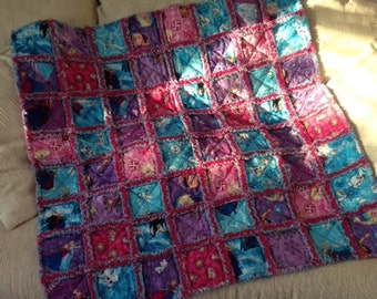 FROZEN baby/toddler Rag Quilt w/ purple backing