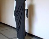 Maxi Gray Dress / Asymmetrical Draped Loose-Fitting Dress /Party Long Dress / Short Sleeves Kaftan by JMSTYLE
