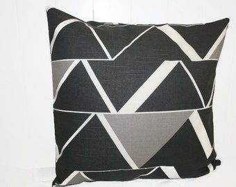 Nate Berkus  Rivington Lynwood Geometric Slate and  Tan Decorative Throw Pillow Cover