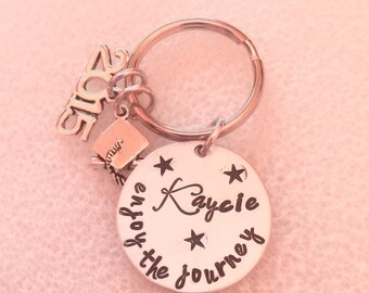 Graduation Gift-Enjoy the Journey-Custom Hand Stamped-Graduation-Class of 2016-Keychain Personalized-College-High School-Graduation Gift-Ins