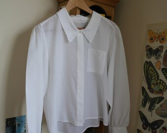 Decorated Bow Detail Collared White Shirt