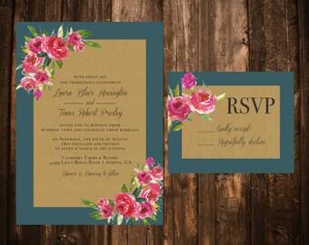 Teal & Pink Floral Kraft Wedding Invitation Set